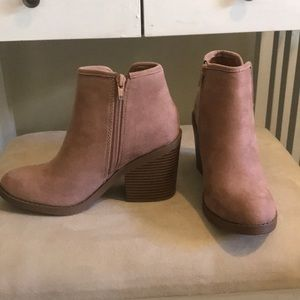 Blush suede booties